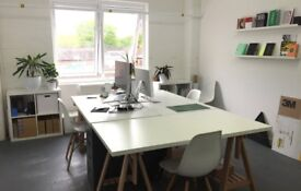 Large desk space in small bright office in Hackney wick