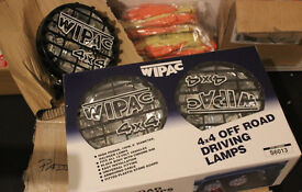 """Land Rover WIPAC 8"""" 4x4 100w Driving Lamps Inc Grilles & Wiring Kit + More NEW"""