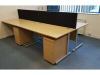 8 - RECTANGULAR OFFICE DESKS - 1600MM X 800MM - VERY GOOD CONDITION