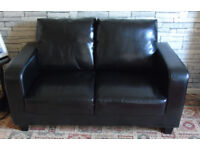 2 x 2 Seater Black Sofas