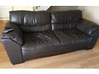 Good condition brown leather three piece suite