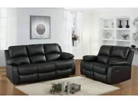 BLACK LEATHER RECLINER SOFA 3+2 ONLY £475