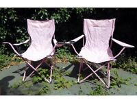 2x Folding Portable Garden Camping Fishing Festival Chair With Cup Holder - pink