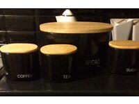 Bread bin, tea, coffee and sugar