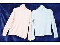 "Bundle of x2 Ladies Roll Neck Jumpers: Pink Marks & Spencer C39"" & Blue Next C37"""