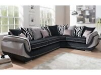 New toni black and grey corner sofa FREE DELIVERY