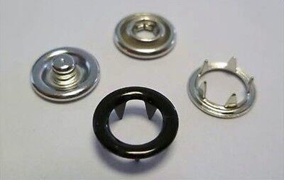 90 Jersey Druckknöpfe 9,5mm schwarz, rostfrei, für Textil, Stoff, Spindelpresse