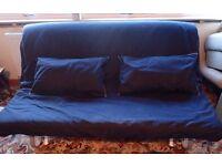 IKEA Double sofa bed, Dark blue cover + 2 cushions. Ikea Article no: 501.787.36. Kirkcaldy area.