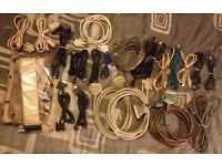 76x assorted cables/leads for computors , modems , printers , hifi , telephones , and tv`s .
