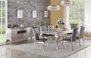 DINING SET WITH DECORATED GLASS INSERT CALEDON -CALL 905-451-8999 (BF-60)