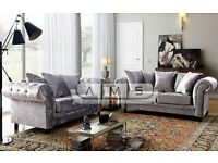 BRAND NEW - Chesterfield Crushed Velvet 3 and 2 Seater Fabric Sofa Suite Settee Silver Color