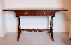 Writing Desk - Leather top, quirky handles
