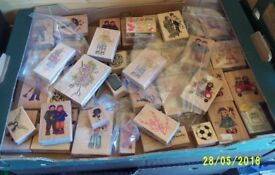 Boxes and Boxes of New Wooden Backed Rubber Stamps 100s of stamps.