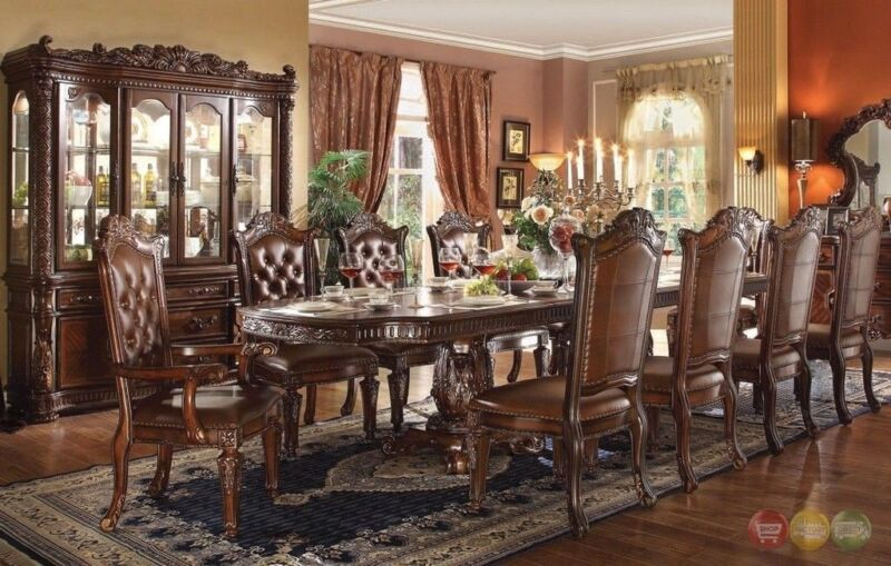 """Vendome Luxury Traditional 9pc 94"""" - 136"""" Wood Dining Table Set In Brown Cherry"""