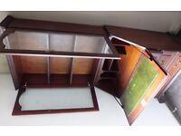 Mahogony Display Unit with Drinks Cabinet / Bureau