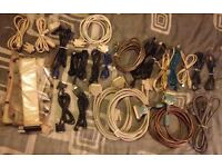 76x assorted cables/leads for computors , modems , printers , hifi , telephones , and tv`s