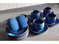 DENBY MIDNIGHT BLUE 7 CUPS & 11 SAUCERS