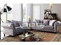 Chesterfield Crushed Velvet 3 and 2 Seater Fabric SOFA SUITE Settee Silver Color