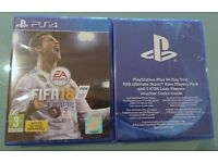 VIDEOGAME Fifa 18 with Rare Players Pack, 3 ICON Loan Players & PS Plus 14 days PS4 UK New & Sealed.