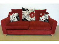 RED,BLACK AND WHITE FABRIC 3 SEATER SOFA - MODERN