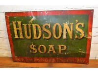 Hudson's soap tin sign advertising decor kitchen enamel mancave garage metal vintage antique motor