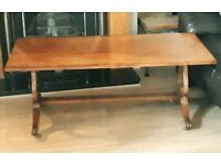 Mahogany Coffee Table Lyre Ends & Lions Claw Casters.