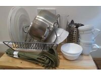Kitchen set: Plates, Cups, Glasses, Cutlery Set, Kitchen Utensil Set, Pot with Lid, Dish Drainer