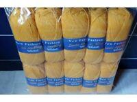 10 x 100g Balls Mustard Yellow Woolcraft Double Knitting Acrylic Wool.