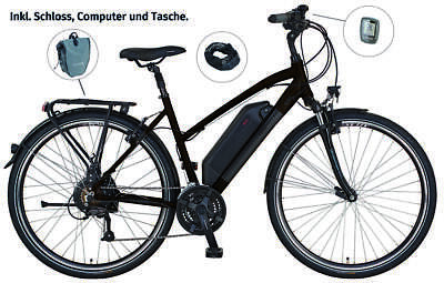 "Prophete E-Bike Alu-Trekking Damen 28"" ENTDECKER e8.6 | dunkelbraun | 250 W 36 V"