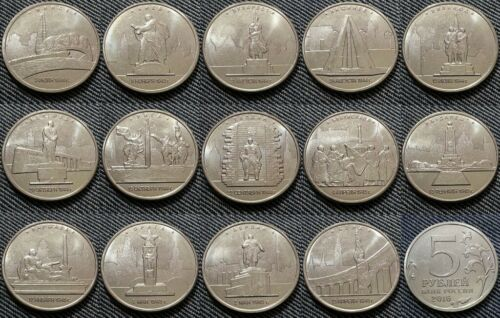 Set of 14 coins 5 rubles 2016 UNC Capitals liberated by the Soviet Troops.