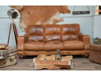 Vintage Leather Tan Brown 3 Seater Sofa