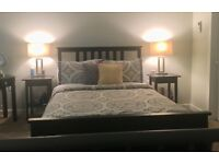 Ikea Hemnes bed frame, mattress and side tables