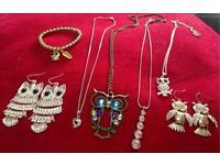 Selection of owl jewellery