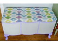 vintage ottoman / storage box / bay window seat / blanket chest / Queen Ann Legs