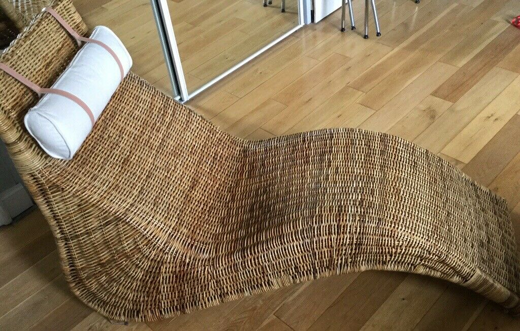 Ikea Rattan Cane Chaise Longue In