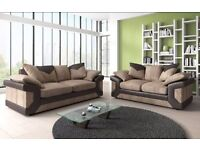 NEW Large Fabric Corner SOFA Brown & Beige 3 & 2 SEATER JUMBO CORD AND LEATHER