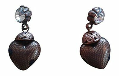 About Face Handmade Bronze Heart Shaped Pendant Earrings With Swarovski (Heart Shaped Face Shape)