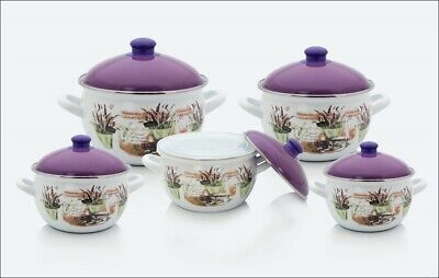 5012 High Quality Enamel Cookware 10 Pieces Set,White,Made In Turkey