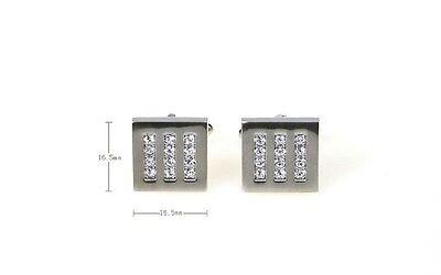 Square Cufflinks 12 Clear Crystals Elegant Wedding Fancy Gift Box Free Ship USA