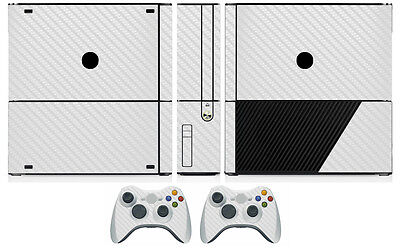 White Carbon Fiber Vinyl Skin Sticker for Xbox360 Slim E and 2 controller skins for sale  Shipping to Canada