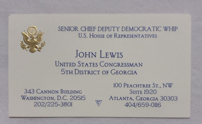 JOHN LEWIS OFFICIAL BUSINESS CARD CONGRESSIONAL BUSINESS CARD GEORGIA
