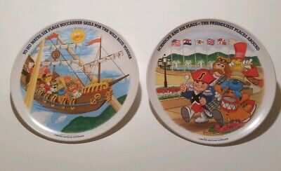 Lot of 2 Vintage 1980 SIX FLAGS Mid-America SCHNUCKS Limited edition PLATES NEW