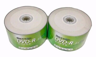 100 Blank SKYTOR DVD-R DVDR 8X White Top 4.7GB Recordable Media Disc