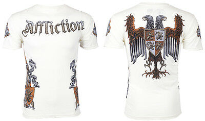 Affliction Mens T Shirt War Knight Eagle Tattoo Fight Biker Mma Ufc Vtg  66 B