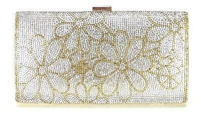 (Women Evening Bag Wedding Bridal Prom Party Clutch Handbag Crystal Gold Flowers)