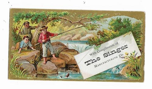 Old Trade Card Singer Manufacturing Co Rockford IL Oscillator Fly Fishing