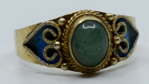 Fine antique sterling silver Chinese export enamel & Jade small elegant ring