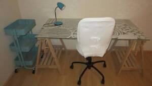 Glass Study Desk on Wood Trestles Swivel Chair light and trolley Mandurah Mandurah Area Preview