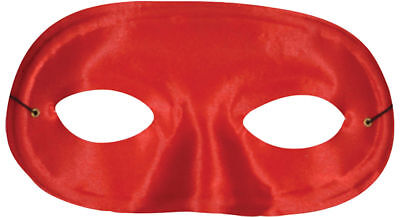 Morris Costumes Adult Unisex Half Domino Satin Elastic Band Red Eye Mask. TI60RD - Ti Halloween Costume