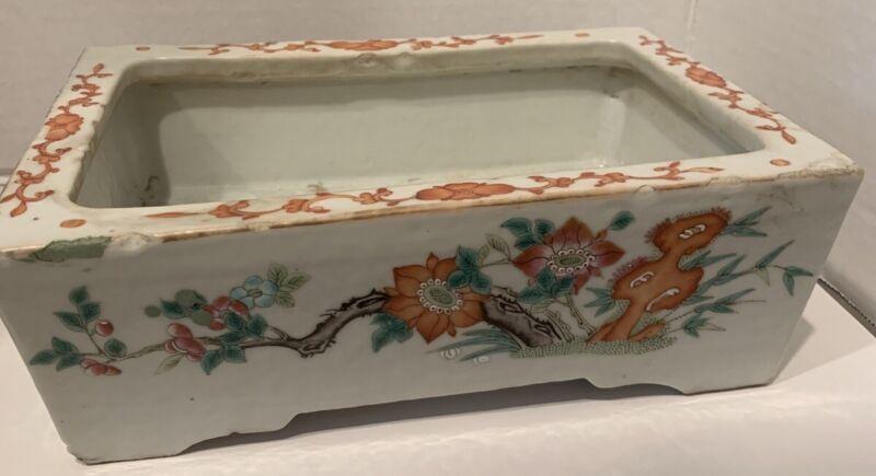 Chinese Famille Rose Porcelain Retangular Planter